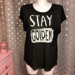 Aerie Stay Golden semi sheer black white t-shirt